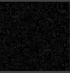 curle and floral seamless background with waves vector image
