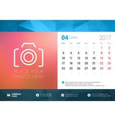 Desk calendar template for 2017 year april design vector