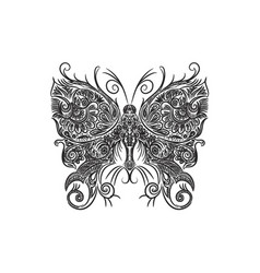 drawing with a pen of a black and white butterfly vector image