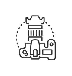 Dslr camera - line design single isolated icon vector