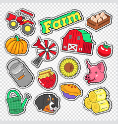 farm agriculture doodle with tractor natural food vector image vector image