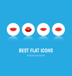 Flat icon lips set of mouth pomade lipstick and vector
