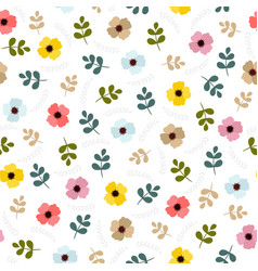 floral seamless pattern with leaves and flowers vector image vector image