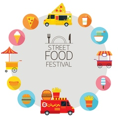 Food Truck Street Food Icons Frame vector image vector image