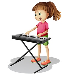 Girl playing with electronic piano vector