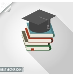 Graduation cap over the book stack icon vector