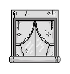 grayscale house window clean with curtains design vector image