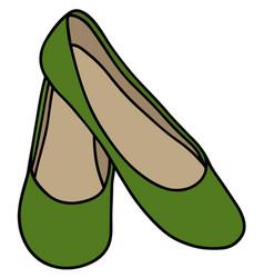 Green womens ballerinas vector