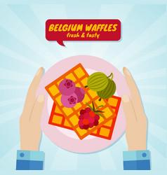 hand giving belgium waffles sweet food concept vector image vector image
