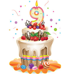 Happy Birthday cake 9 vector image vector image