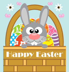 Happy easter background card with rabbit vector