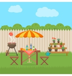 House backyard with grill vector