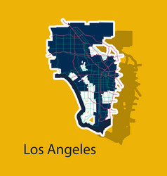 Los angeles map flat style design - sticker vector