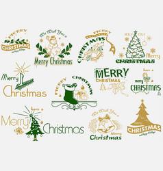 merry christmas typography set vector image