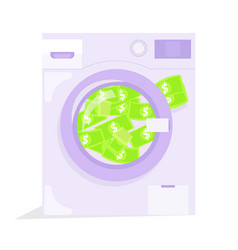Money laundering in washing machine vector