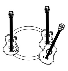 monochrome contour with guitars set electric and vector image vector image