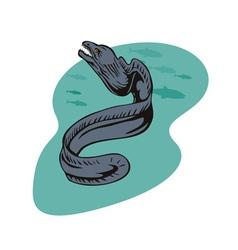 Moray eel retro vector