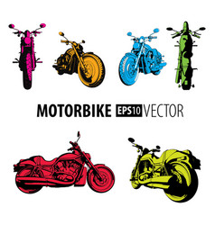 Motorbike colorful set collection vector