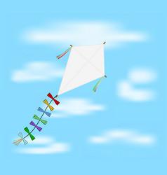 paper kite flying on blue sky vector image
