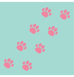 Paw print track diagonal blue and pink vector