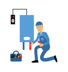proffesional plumber man character installing a vector image