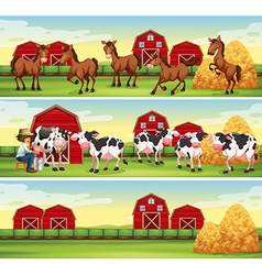 Scenes in the farm with farmer and animals vector