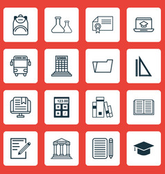 Set of 16 school icons includes college vector