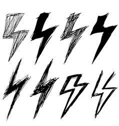 set of sketchy lightning vector image