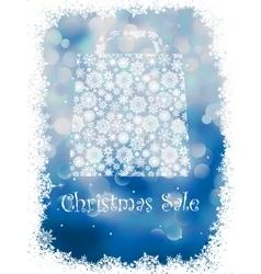 Snowflake gift bag on blue background eps 8 vector