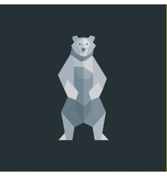 The bear is white on a background of flat polygons vector image vector image