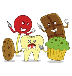 Tooth enemies cartoon vector