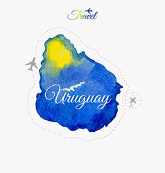 Travel around the world uruguay watercolor map vector