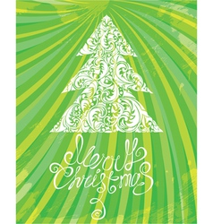 White Christmas template with swirly ornamental tr vector image vector image