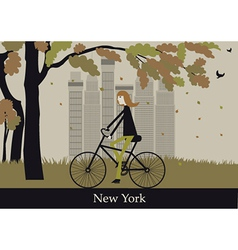 Woman on the bicycle in New York vector image