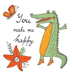You make me happy cute hand drawn card with vector