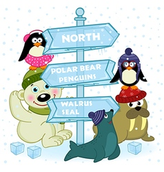 North animals near ice sign vector