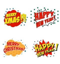 Set of comic style phrases for xmas cartoon style vector