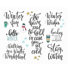 Hello winter season typography set vector