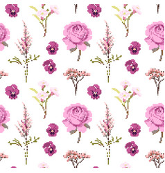 Botanical flower seamless pattern flowers vector