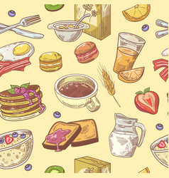Hand drawn breakfast seamless pattern with coffee vector