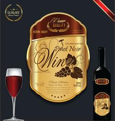 Luxury golden wine label vector
