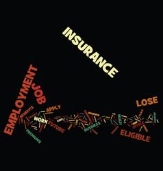 Employment insurance text background word cloud vector