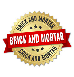 Brick and mortar round isolated gold badge vector