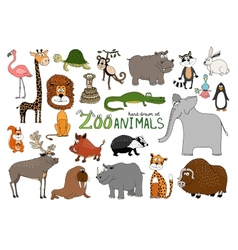 Set of hand-drawn zoo animals vector