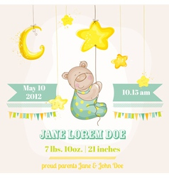 Baby boy arrival card - baby bear with moon vector