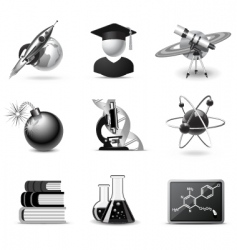 Science icons  bw series vector