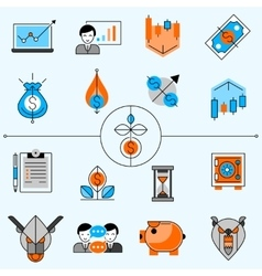 Investment line icons set vector
