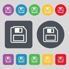 Floppy disk icon sign a set of 12 colored buttons vector