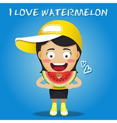 Happy woman carrying big sliced watermelons vector