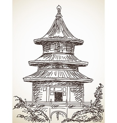 Chinese style temple vector